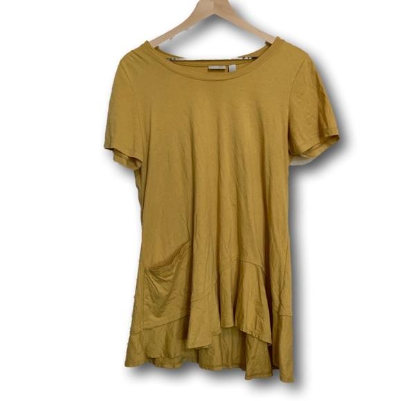 LOGO by Lori Goldstein Tops - LOGO Women's Yellow Long Tunic Ruffled Top